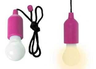 Portable Retro Pull Cord LED Powered Light Bulb Task Lamp Pink /Battery
